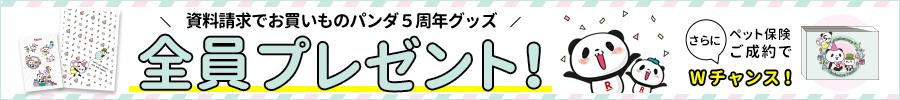 【資料請求キャンペーン】お買いものパンダ5周年ステッカー&クリアファイルプレゼント